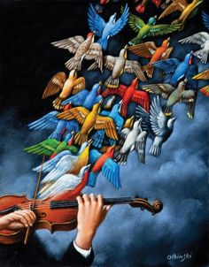 Find this artwork on Artsper: Tales of Love (Violin and birds) by Rafal Olbinski. Fantasy Kunst, Fantasy Art, Contemporary Artwork, Modern Art, Surrealism Painting, Art Et Illustration, Arte Popular, Bird Art, Belle Photo