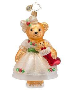 Christopher RADKO BEAR MUFFY CHRISTMAS ROSE VANDERBEAR Glass Ornament