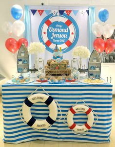 This Nautical themed 1st Birthday Party is awesome! Love the dessert table! See more party ideas and share yours at CatchMyParty.com #Nautical #boybirthday #1stbirthday