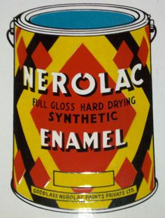 Sign for Nerolac Enamel showing a can of the company's paint product.