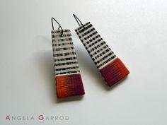 Ease Away Earrings No 3, Polymer Clay, silver and oxidised silver.