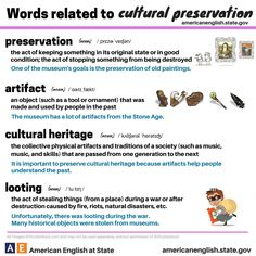 "Words related to ""CULTURAL PRESERVATION' #learnenglish """