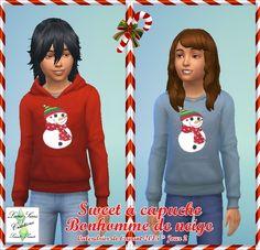 Sweet capuche Fille et garon - Imprimé Bonhomme de neige- Luna Sims