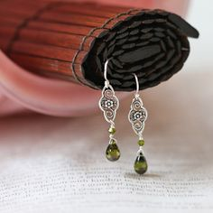 everlasting moments sterling silver indie earrings in olive