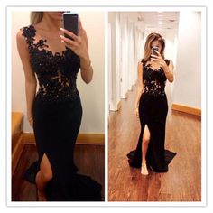 Mermaid Prom Dresses,Black Lace Prom Dress,Slit Prom Dress,Modest Evening Gowns,Cheap Party Dresses, on Luulla
