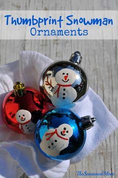Thumbprint Snowman Ornaments