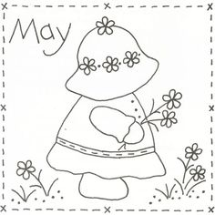 Sunbonnet Sue BOM - May Stitchery Pattern LQC-S5 by Little Quilts - Mary Ellen Von Holt. Make a little calendar quilt, embellish a pillowcase, decorate a shirt or sew a fabric greeting card.