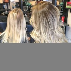 Rooted platinum blonde balayage. With tape in extensions. Curled hair. Rooted…