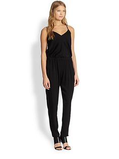 Comfy and feminine. $435 MILLY - Stretch Silk Racerback Jumpsuit - Saks.com