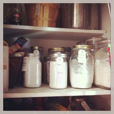 My pantry after I organized with mason jars!