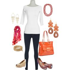 Plain White Tee, created by donnavaught on Polyvore featuring the Stella & Dot - Capri Chandelier Earrings in Coral