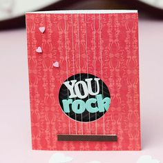 Rock and roll! // Guitar-Theme Valentine's Day Card. More homemade Valentine's: http://www.bhg.com/holidays/valentines-day/cards/handmade-valentines-cards/