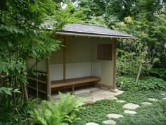Japanese Tea House, Japanese Bath, Japanese Gardens, Japanese Pergola, Garden Structures, Outdoor Structures, Garden Waterfall, Asian Garden, Japanese Tea Ceremony