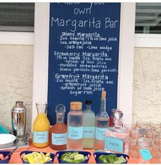 Make your own margarita bar!!! Super cute Danielle!