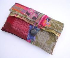 Unique Bag Red Artsy Clutch Bag Upcycled Bag by itzaChicThing Techniques Couture, Art Bag, Pencil Bags, Handmade Purses, Boho Bags, Unique Bags, Fabric Bags, Small Bags, Pouches