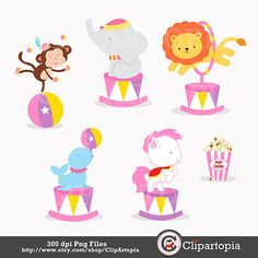 Pink Circus Digital clipart / Girls Circus clip art for image 1 Paper Doll Template, Vintage Circus Party, Clown Party, Circus Birthday, Circus Baby, Second Birthday Ideas, Easy Canvas Painting, Carnival Themes, Clipart