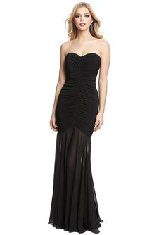 MAX AND CLEO Jersey Chiffon Strapless Gown