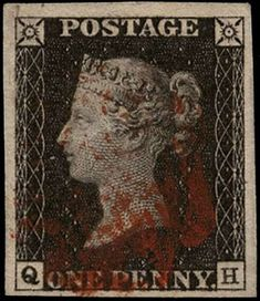 £350 Great Britain 1840 1d black, Plate 1b, SG2.  A very fine used example with four good to large margins lettered QH, cancelled by a red Maltese Cross.  An attractive example from the very first printing plate, after repair, of the world's first postage stamp. The penny black represents a real landmark in British and worldwide history.  The SG catalogue value is £375. Maltese Cross, Penny Black, Stamp Collecting, Great Britain, Postage Stamps, First World, British, Printing, Plates