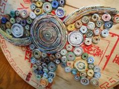 Rolled magazine floral art