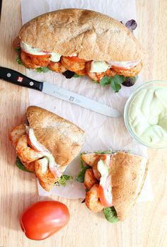 Spicy #Shrimp #Sandwich with #Avocado Mayo. This delicious and simple sandwich is packed with fresh flavor and can be ready in under 30 minutes!