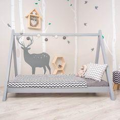 Scandi Grey Teepee Bed for Montessori Room #teepee #bed #bedroomideas #nursery #nurseryideas #nurserydecor #kids #kidsroom #children #babyboy #babygirl #baby #bed #toddler #junior #design #scandinaviandesign #scandi #montessori