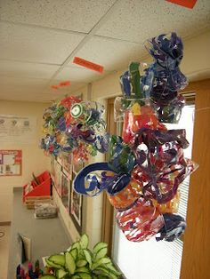 Chihuly art project using plastic plates, cups, tempera paint and toaster oven