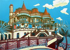 East Cliff Hall – Signed original linocut print edition of 50 - contemporary fine art Printed onto somerset cartridge with oil based inks. This is an original three block linocut print, one of an edition of 50 prints. Architectural Prints, Blues Artists, Painting Studio, Landscape Prints, Linocut Prints, Art Pages, Printmaking, Fine Art Prints, Art Gallery