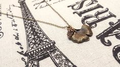 Ginkgo Leaf Necklace Pinecone Necklace Antique by DandelionByPolly