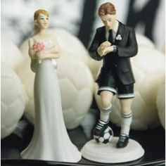 Soccer Player Groom with Bride Cake Topper Set - Funny Wedding Cake Toppers - Funny Wedding Cake Ideas - Funny Wedding Cakes Funny Wedding Cake Toppers, Bride And Groom Cake Toppers, Wedding Topper, Soccer Wedding, Sports Wedding, Trendy Wedding, Soccer Cake, Unique Wedding Favors, Wedding Ideas