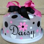 Daisy Pink & Black Multiple Dots Cake