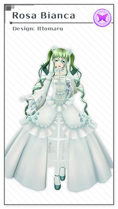 Rosa Bianca   Design: Ittomaru Hatsune Miku Outfits, Vocaloid Cosplay, Cosplay Outfits, Anime Outfits, Kaito, Yusuke Kozaki, Hatsune Miku Project Diva, Bright Blue Eyes, Vestidos