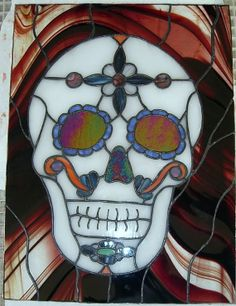 Stained glass sugar skull. Dia de los Muertos