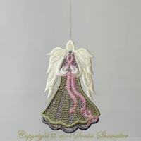 Angel of Light (Cancer Edition) ~ Sonia Showalter Designs Computerized Embroidery Machine, Machine Embroidery Applique, Free Machine Embroidery Designs, Embroidery Fonts, Applique Patterns, Applique Designs, Embroidery Ideas, Freestanding Lace Embroidery, Fine Linens