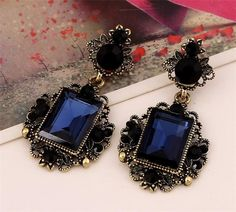 Cheap earrings children, Buy Quality vintage teardrop earrings directly from China vintage diamond earrings Suppliers: New fashion dark blue color big crystal vintage drop earrings for women dangling earrings brincos grandes party accessories Cheap Earrings, Clip On Earrings, Women's Earrings, Diamond Earrings, Rose Gold Jewelry, Fine Jewelry, Dark Blue Color, Aliexpress, Teardrop Earrings