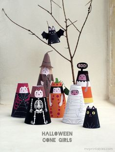 Halloween cone girls! Printable 3d paper dolls & halloween costumes | Mr Printables