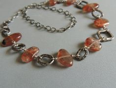 Artisan Jewelry Sunstone and Silver Necklace by DianesAddiction