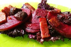 Balsamic roasted beets with figs, served over lightly steamed kale and topped with crumbled bacon. Perfect side dish!