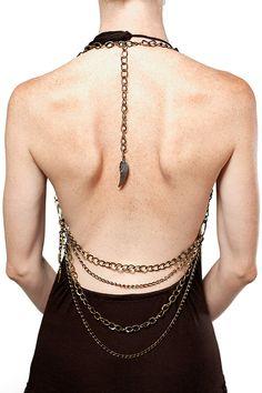 Brass Chain Halter , Body Chain, one size fits all by ayapapaya $85.00
