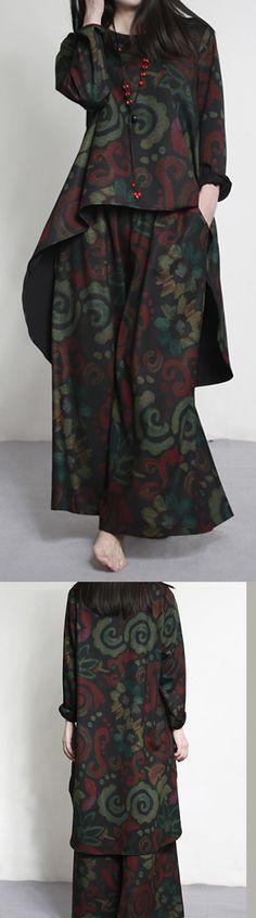 original design burgundy unique cotton with loose wide leg pants