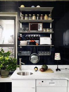 New Kitchen Inspiration Design Apartment Therapy Small Spaces Ideas Kitchen Shelf Design, Small Kitchen Organization, Small Kitchen Storage, Kitchen Shelves, Kitchen Decor, Organization Ideas, Kitchen Designs, Kitchen Ideas, Kitchen Small