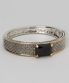 Take a look at this Silver & Black Rectangle Bracelet by Regal Jewelry on #zulily today!