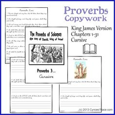 Entire book of Proverbs KJV copy work in print and in cursive