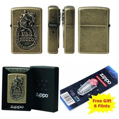 [Zippo] Rodeo BA Windproof Lighter Made in USA GENUINE + 6 Flints for free