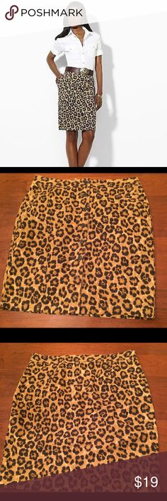 "Ralph Lauren ""Kaley"" Leopard print Skirt Size 16 Ralph Lauren ""Kaley"" Leopard print Skirt Size 16. Linen/cotton Blend. Great statement piece for a classic or trendy wardrobe. Lauren Ralph Lauren Skirts Pencil"