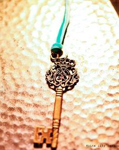 Skeleton Key Pendant . Tiffany green velvet ribbon