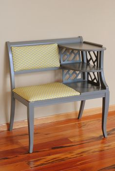 reupholstered telephone table ~ reminds me of grandmas house!