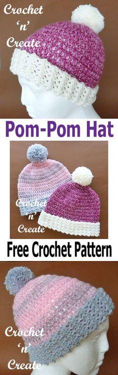 Free crochet pattern for pom-pom hat, suitable for beginners.