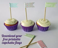 Free Printable Cupcake Flags.  Perfect for baby showers and party theming