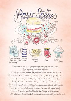 This Basic Scones Recipe is perfect for your next dessert. Old Recipes, Vintage Recipes, Baking Recipes, Scone Recipes, Basic Scones, Recipe Drawing, Food Journal, Recipe Journal, Food Illustrations
