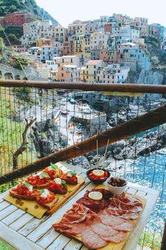 Antipasto platters at Nessun Dorma Restaurant in Manarola, Cinque Terre